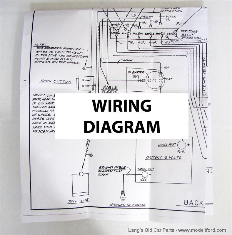 Model T Wiring diagram, 5039Lang's Old Car Parts