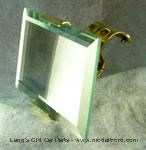 Model T 7854B - Rear view mirror for top of windshield, solid brass, open cars. Clamps on top of windshield frame.