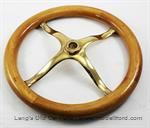 "Model T Steering wheel with wood rim and brass spider, 12-1/2 o.d., 10"" i.d., - 3503B-SP"