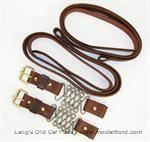 Model T Hood straps, natural color leather straps with brass hardware - 4052STRN