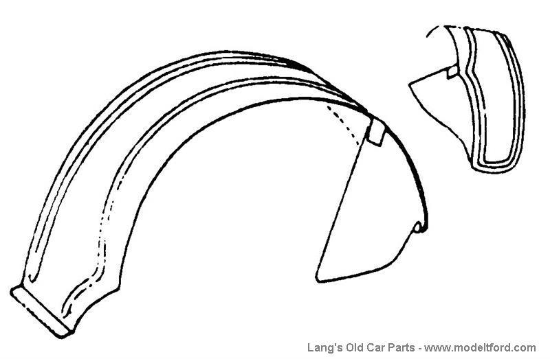 model t left rear fender  center door  steel  no241