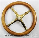 Model T Steering wheel with wood rim and polished brass spider - 3503B