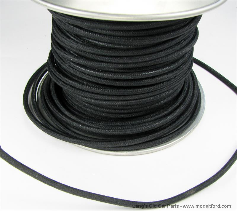 Black wire 14 gauge cloth covered sold by the foot on