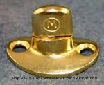 Model T MUR1-TB - Murphy Fastener, thick curved oval base for top bows, single stack, solid brass