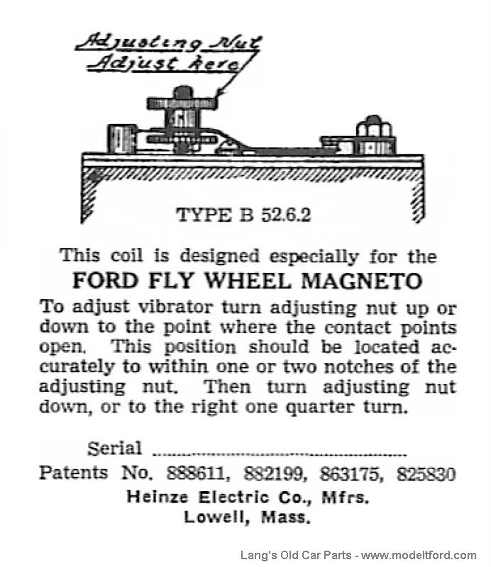 Model T Heinze label, found on inside of lid, serial number blank, 4640L