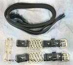 Model T Hood straps, Blackened leather with nickel hardware - 4052STBN