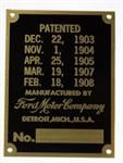 Model T 1865A - Patent and serial number plate