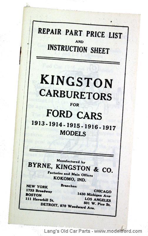 Model T Kingston Carburetors For Ford Cars Booklet Kg1